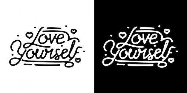 Love yourself monoline lettering vintage