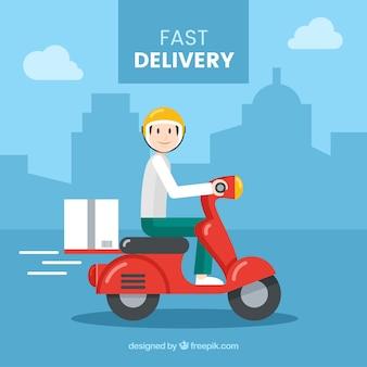 Lovely deliveryman com scooter