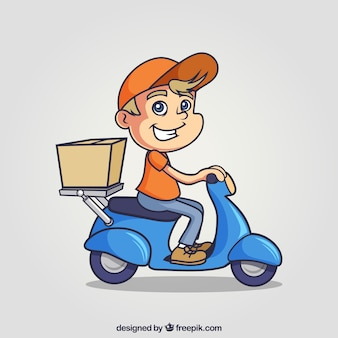 Lovely dellivery man em scooter