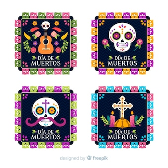 Lovely día de muertos badge collection