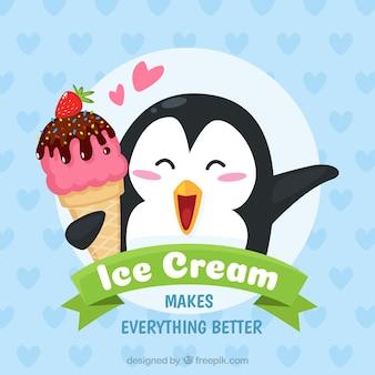 Lovely pinguim fundo com um sorvete