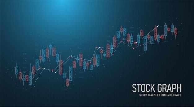 Low poly stock market trading linha geométrica candlestick com investor stock market chart no lado do negócio vector design imagem fundo azul
