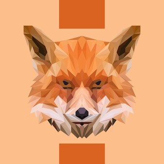 Low polygonal fox head vector