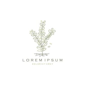 Low tree branch leaf logo vector icon ilustração