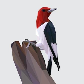 Lowpoly vetor de pássaro de pica-pau redhead