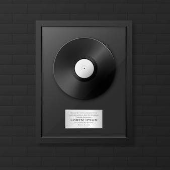 Lp realista e etiqueta no quadro preto lustroso ícone closeup isolado. prêmio de disco de álbum único. modelo de design.