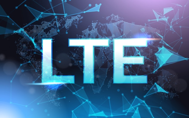 Lte sign symbol over wireframe futurista low poly mesh