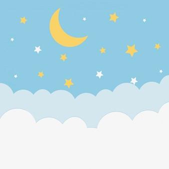 Lua à noite dos desenhos animados