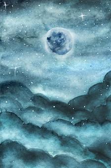 Lua azul mágica e céu azul nublado