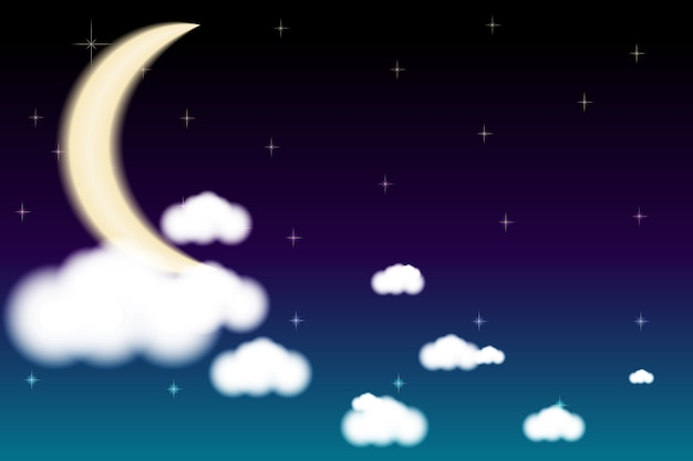 Lua céu nuvens à noite