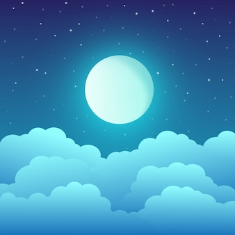 Lua cheia com nuvens e estrelas no céu noturno.