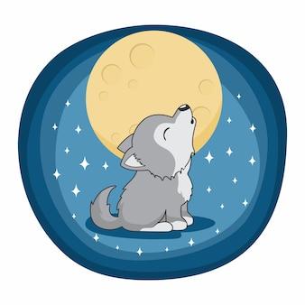 Lua cheia dos desenhos animados bonitos do lobo