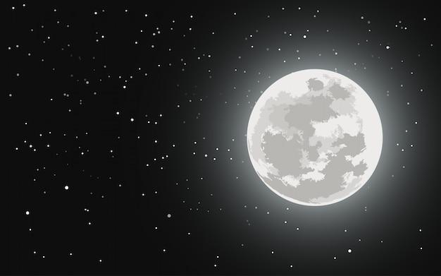 Lua cheia e céu estrelado