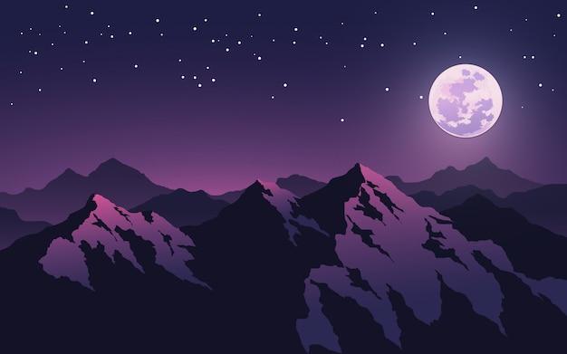 Lua cheia e estrelas sobre picos de montanhas