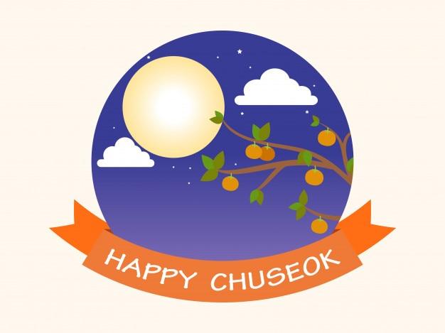 Lua cheia e fundo de árvore de caqui (chuseok)