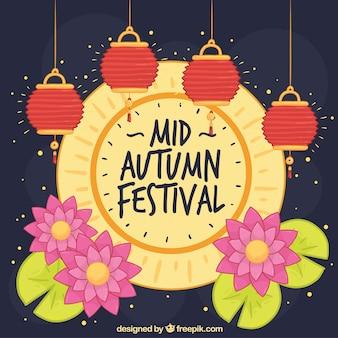 Lua cheia e lanternas, festival do meio do outono