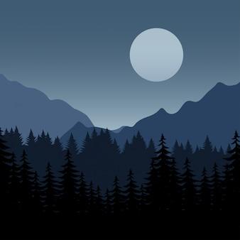Lua cheia e montanha com pinhal