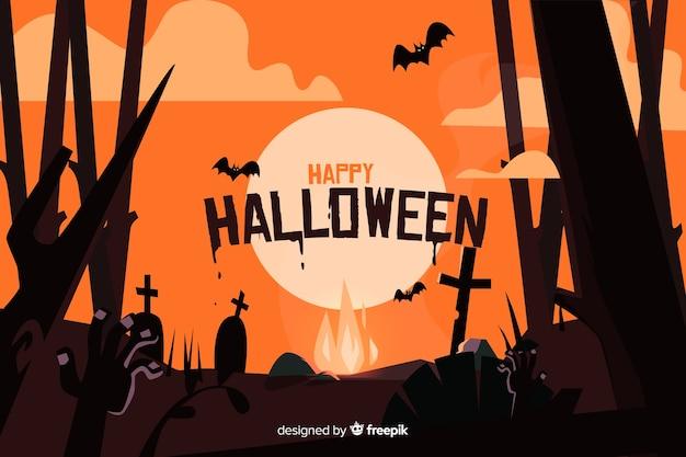 Lua cheia em um cemitério com morcegos fundo de halloween