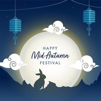 Lua cheia fundo azul com silhueta coelhinho, nuvens e lanternas chinesas penduradas para feliz mid autumn festival.