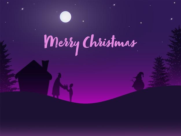 Lua cheia, fundo roxo com árvores, casa, boneco de neve e papai noel dando um presente para o garotinho