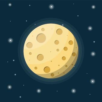 Lua cheia no céu noturno com estrelas. satélite lunar da terra com crateras.