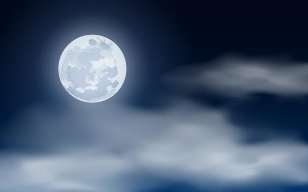 Lua cheia no céu noturno nublado
