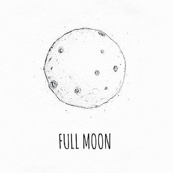 Lua cheia no espaço sideral com crateras lunares. ilustração em vetor logotipo mão desenhada
