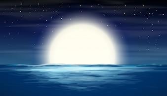 Lua cheia, sobre, mar