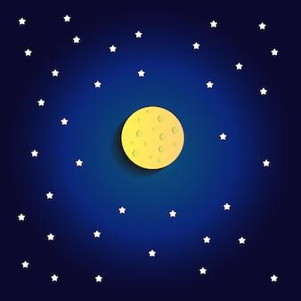 Lua com fundo escuro azul estrela