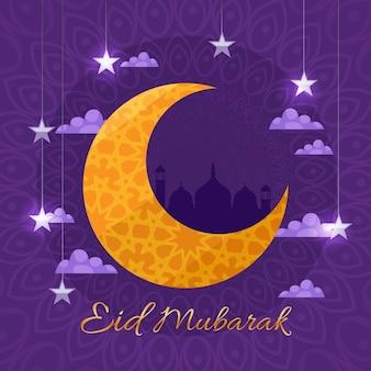 Lua com motivos árabes design plano eid mubarak