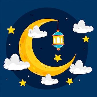 Lua crescente amarela com estrelas, lanterna suspensa e nuvens decoradas