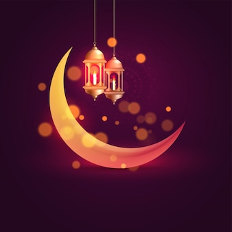Lua crescente brilhante e pendurado lanternas iluminadas em roxo