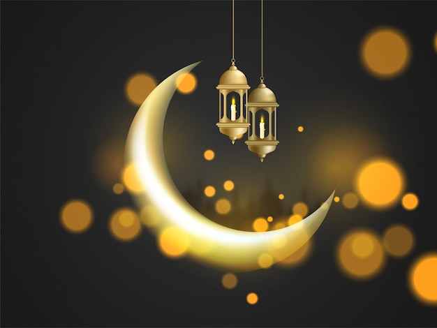 Lua crescente brilhante e pendurado lanternas iluminadas no bokeh