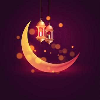 Lua crescente brilhante e pendurado lanternas iluminadas no fundo roxo