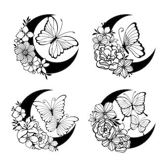 Lua crescente com borboleta e decoração em estilo floral