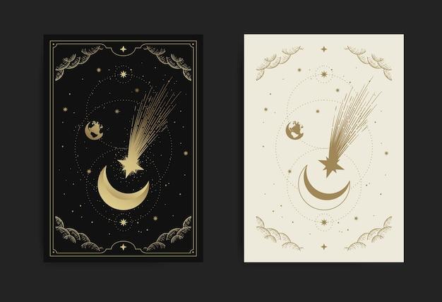 Lua crescente com cartão de estrela cadente, com temas de gravura, luxo, esotérico, boho, espiritual, geométrico, astrologia, magia, para cartão de tarô.