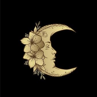Lua crescente com enfeite de flores em gravura de estilo antigo. boho, tatuagens, cartas de tarô.