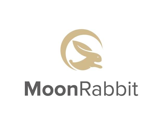 Lua crescente com folha e coelho simples, criativo, geométrico, elegante, moderno, design de logotipo