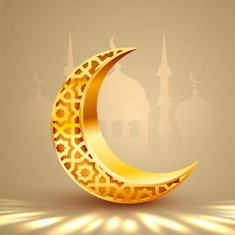 Lua crescente com lua dourada de gravura oca. conceito de ramadã.