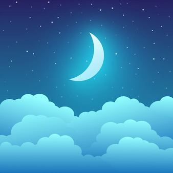 Lua crescente com nuvens e estrelas no céu noturno