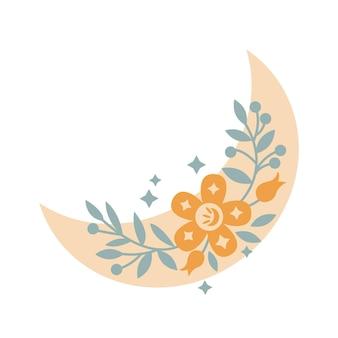 Lua crescente de boho mágica com folhas, estrelas, flores, isoladas no fundo branco. ilustração em vetor plana. elementos decorativos de boho para tatuagem, cartões, convites, casamento