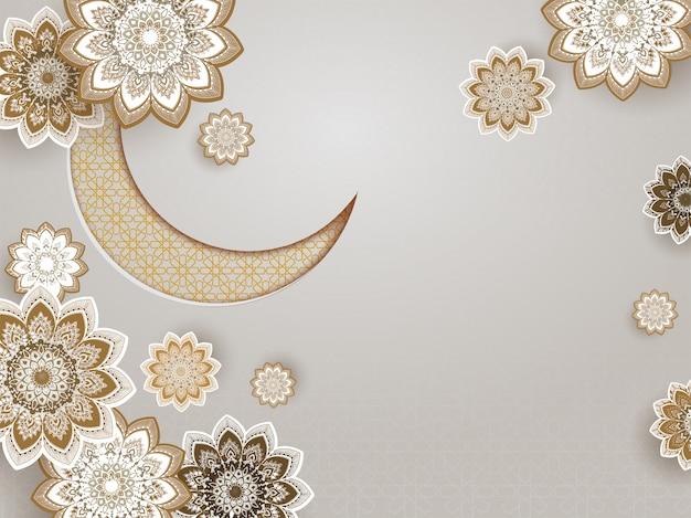Lua crescente de ornamento com design de mandala decorado fundo