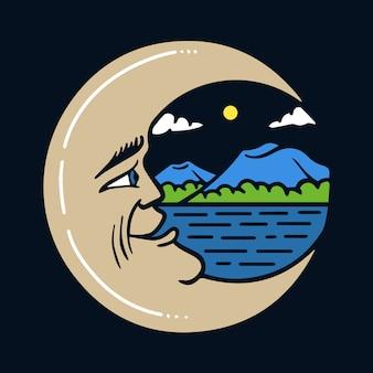 Lua crescente desenhada de mão com ilustração de vista de montanhas