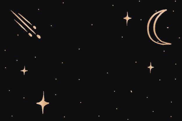 Lua crescente dourada doodle borda fundo do céu galáctico