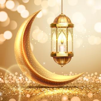 Lua crescente dourada e lanterna no cartão comemorativo do ramadã