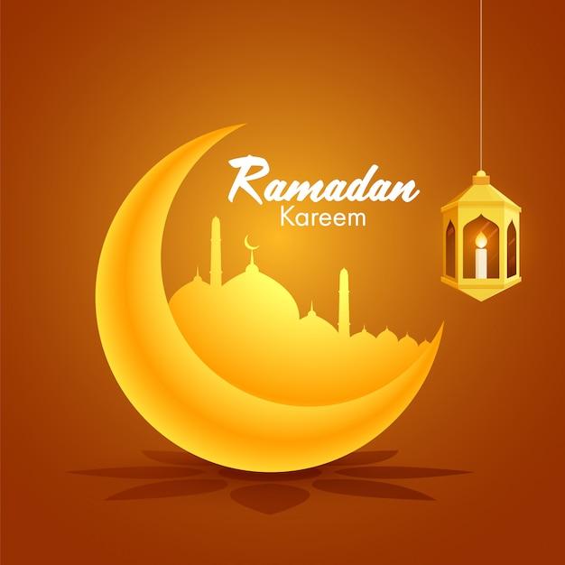 Lua crescente dourada e mesquita e lanterna árabe dourada iluminada no fundo alaranjado pelo mês sagrado islâmico de ramadan kareem concept.
