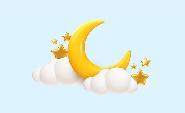 Lua crescente, estrelas douradas e nuvens brancas estilo 3d isolado sobre fundo azul. sonho, canção de ninar, design de plano de fundo de sonhos para banner, livreto, cartaz. ilustração vetorial eps10