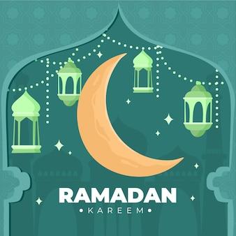 Lua crescente feliz mão desenhada ramadan kareem