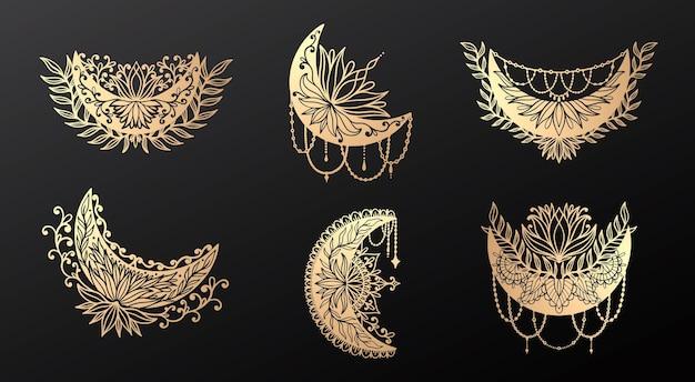 Lua crescente flor mandala boho decoração estilo moderno