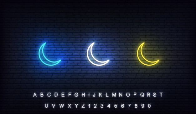 Lua crescente islâmica neon. conjunto de lua crescente colorido do ramadã néon